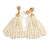Stunning Faux Glass Pearl Tassel Clear Crystal Dangle Clip On Earrings In Gold Plated Finish - 65mm Long