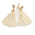 Stunning Faux Glass Pearl Tassel Clear Crystal Dangle Clip On Earrings In Gold Plated Finish - 65mm Long - view 6