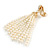 Stunning Faux Glass Pearl Tassel Clear Crystal Dangle Clip On Earrings In Gold Plated Finish - 65mm Long - view 3