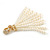 Stunning Faux Glass Pearl Tassel Clear Crystal Dangle Clip On Earrings In Gold Plated Finish - 65mm Long - view 4