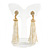 Stunning Faux Glass Pearl Tassel Clear Crystal Dangle Clip On Earrings In Gold Plated Finish - 65mm Long - view 2
