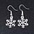 Christmas Fancy Crystal Snowflake Drop Earrings In Silver Tone Metal - 35mm Long - view 2