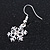 Christmas Fancy Crystal Snowflake Drop Earrings In Silver Tone Metal - 35mm Long - view 3