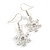 Christmas Fancy Crystal Snowflake Drop Earrings In Silver Tone Metal - 35mm Long - view 4