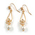 Delicated Clear Cz Floral with Faux Pearl Drop Earrings In Gold Tone - 45mm L