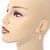 Delicate White Faux Pearl Clear Cz Drop Earrings In Gold Tone - 28mm Long - view 3
