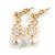 Delicate White Faux Pearl Clear Cz Drop Earrings In Gold Tone - 28mm Long - view 2