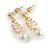 Delicate White Faux Pearl Clear Cz Drop Earrings In Gold Tone - 28mm Long