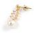 Delicate White Faux Pearl Clear Cz Drop Earrings In Gold Tone - 28mm Long - view 4