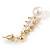Delicate White Faux Pearl Clear Cz Drop Earrings In Gold Tone - 28mm Long - view 5