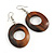 Trendy Brown Oval Wood Drop/ Hoop Earrings - 60mm L