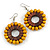 Yellow/ Brown Wood Bead Hoop Earrings - 65mm Long