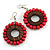 Cherry Red/ Brown Wood Bead Hoop Earrings - 65mm Long
