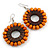 Orange/ Brown Wood Bead Hoop Earrings - 65mm Long