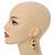 Banana Yellow Glass Bead, Antique Yellow Shell Nugget Cluster Dangle/ Drop Earrings In Silver Tone - 60mm Long - view 2