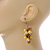 Banana Yellow Glass Bead, Antique Yellow Shell Nugget Cluster Dangle/ Drop Earrings In Silver Tone - 60mm Long - view 3