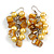 Banana Yellow Glass Bead, Antique Yellow Shell Nugget Cluster Dangle/ Drop Earrings In Silver Tone - 60mm Long