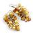 Banana Yellow Glass Bead, Antique Yellow Shell Nugget Cluster Dangle/ Drop Earrings In Silver Tone - 60mm Long - view 4
