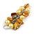 Banana Yellow Glass Bead, Antique Yellow Shell Nugget Cluster Dangle/ Drop Earrings In Silver Tone - 60mm Long - view 5