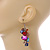 Multicoloured Glass Bead, Shell Nugget Cluster Dangle/ Drop Earrings In Silver Tone - 60mm Long - view 3