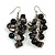Black Glass Bead, Shell Nugget Cluster Dangle/ Drop Earrings In Silver Tone - 60mm Long