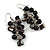 Black Glass Bead, Shell Nugget Cluster Dangle/ Drop Earrings In Silver Tone - 60mm Long - view 4