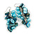 Light Blue Glass Bead, Shell Nugget Cluster Dangle/ Drop Earrings In Silver Tone - 60mm Long - view 4