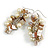 Cream Glass Bead, Antique White Shell Nugget Cluster Dangle/ Drop Earrings In Silver Tone - 60mm Long - view 3