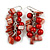 Red Glass Bead, Shell Nugget Cluster Dangle/ Drop Earrings In Silver Tone - 60mm Long - view 2