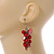 Red Glass Bead, Shell Nugget Cluster Dangle/ Drop Earrings In Silver Tone - 60mm Long - view 4