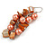 Peach Glass Bead, Burnt Orange Shell Nugget Cluster Dangle/ Drop Earrings In Silver Tone - 60mm Long - view 5