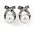 Vintage Inspired Clear Crystal White Faux Pearl Bow Stud Earrings In Aged Silver Tone - 20mm Tall