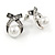 Vintage Inspired Clear Crystal White Faux Pearl Bow Stud Earrings In Aged Silver Tone - 20mm Tall - view 4
