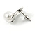 Vintage Inspired Clear Crystal White Faux Pearl Bow Stud Earrings In Aged Silver Tone - 20mm Tall - view 6