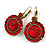 Vintage Inspired Round Cut Scarlet Red Glass Stone Drop Earrings With Leverback Closure In Antique Gold Metal - 40mm L