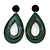 Statement Dark Green/ Black Acrylic Teardrop/ Hoop/ Drop Earrings - 80mm Long