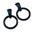 Statement Dark Blue/ Black Acrylic Hoop Drop Earrings - 65mm Drop
