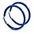 Large Blue Enamel Hoop Earrings In Silver Tone - 60mm Diameter