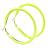 Large Neon Yellow Enamel Hoop Earrings In Silver Tone - 60mm Diameter