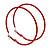 60mm Large Slim Red Enamel Hoop Earrings