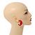 Red Acrylic Half Hoop Earrings - 37mm Diameter - view 3