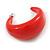 Red Acrylic Half Hoop Earrings - 37mm Diameter - view 6