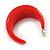 Red Acrylic Half Hoop Earrings - 37mm Diameter - view 7