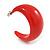 Red Acrylic Half Hoop Earrings - 37mm Diameter - view 5
