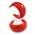 Red Acrylic Half Hoop Earrings - 37mm Diameter - view 9