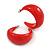 Red Acrylic Half Hoop Earrings - 37mm Diameter