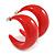 Red Acrylic Half Hoop Earrings - 37mm Diameter - view 2