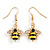 Small Black/ Yellow Enamel Crystal Bee Drop Earrings In Gold Tone - 40mm Long