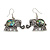 Vintage Inspired Elephant with Abalon Shell Drop Earrings In Aged Silver Tone - 40mm Long - view 4
