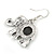 Vintage Inspired Elephant with Abalon Shell Drop Earrings In Aged Silver Tone - 40mm Long - view 7